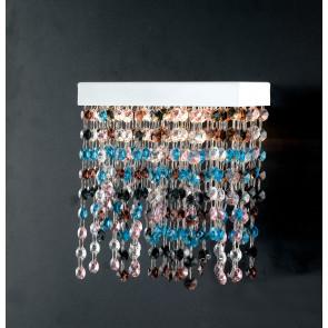 LED-LUXURY-AP - Pendentifs Appliques en Métal Blanc Cristaux Multicolores Lampe Led Moderne 25 watts Lumière Naturelle