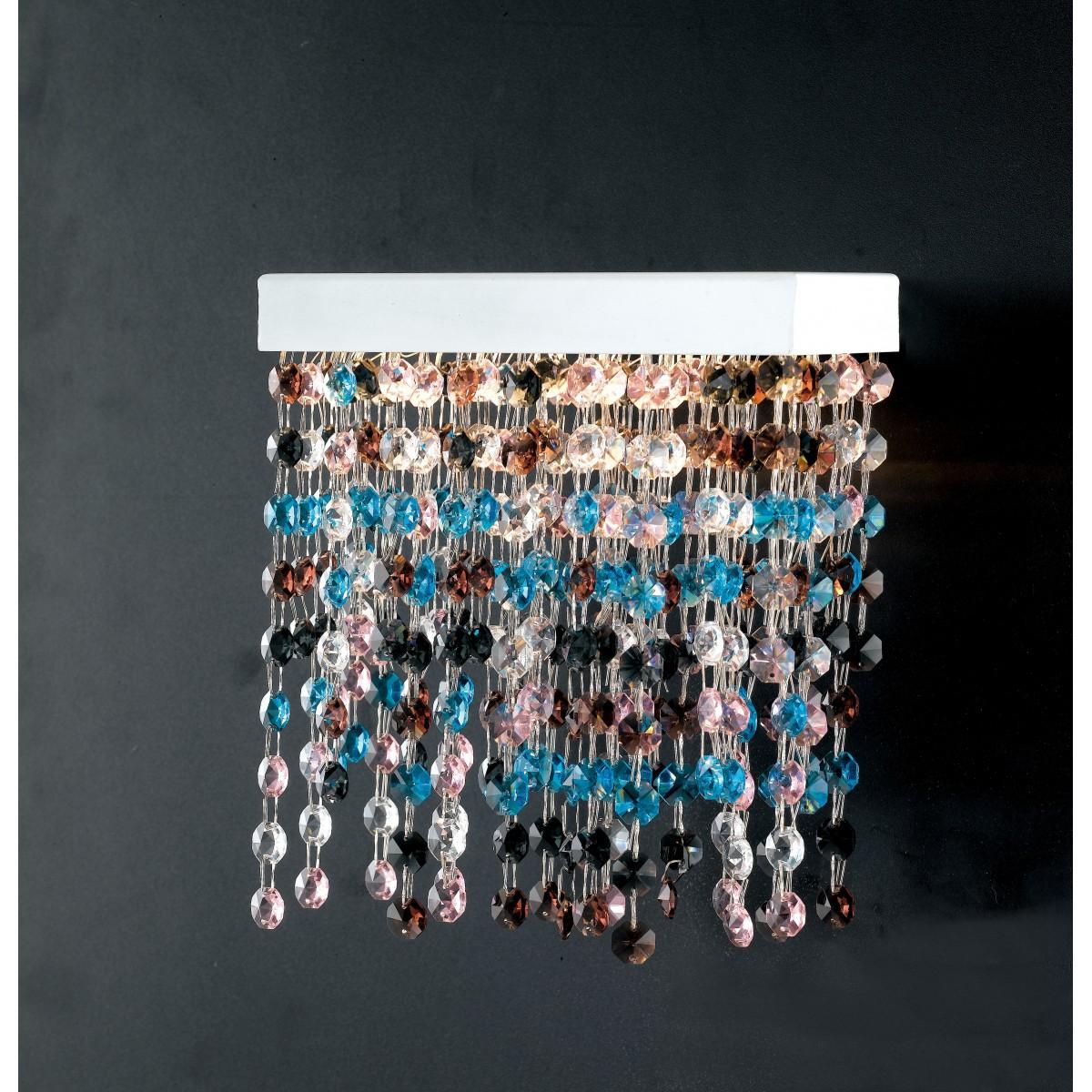 LED-LUXURY-AP - Applique Metallo Bianco Pendenti Cristalli Multicolor Lampada Moderna Led 25 watt Luce Naturale