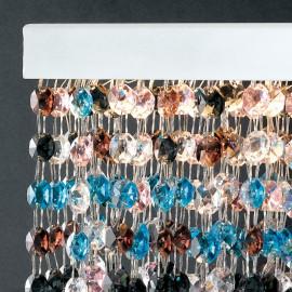 Struttura in Metallo Bianco con Cristalli Pendenti Multicolor Linea Luxury