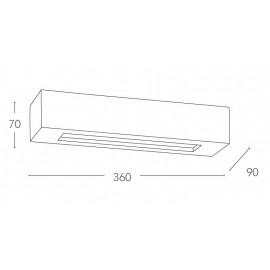 Applique Candida Squadrata 7x36 cm in Gesso Verniciabile con Doppia Diffusione Luminosa Fan Europe