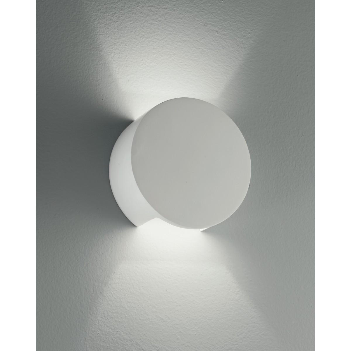 I-LEIRON-AP - Applique Gesso Verniciabile Tonda Doppia Diffusione di Luce Lampada da Parete G9