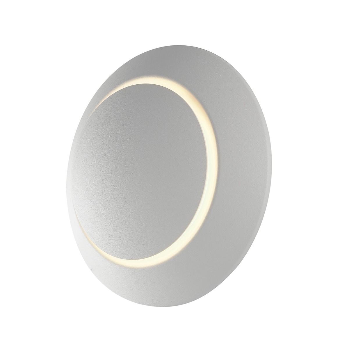 Applique a led tondo in alluminio bianco
