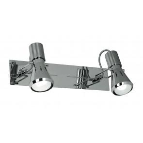 Applique a due luci cromata dalla forma semplice 40 watt E14