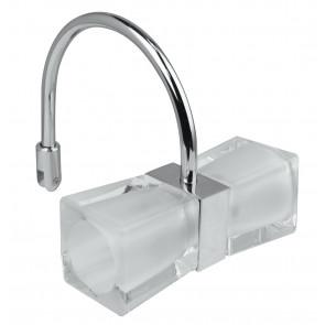 Applique cromata con due paralumi cubici orizzontali 28 watt 3500 kelvin G9