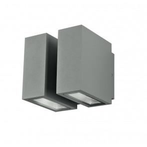 Applique a led per esterno due rettangoli 3000K grigio 10L x 10,5 x 9,5H cm driver 230V incluso