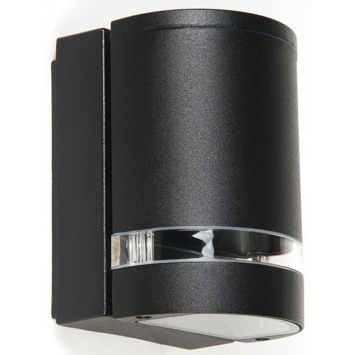 I-6041 / NERO - Applique murale externe en aluminium noir bande transparente étanche 35 watts GU10 lumière chaude
