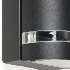 Struttura in Alluminio Pressofuso Nero con Fascia in Vetro Trasparente Linea Focus