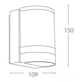 Applique Focus per Esterno 15x10,9 cm in Alluminio Pressofuso con Fascia in Vetro Trasparente FanEurope
