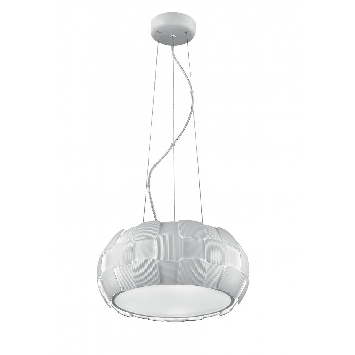 I-NECTAR-S5 - Lustre suspendu circulaire avec décoration moderne en polycarbonate blanc E27