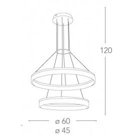 Lampadario Saturn con Due Anelli in Metallo Bianco Diffusori in Acrilico FanEurope