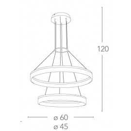 Lustre Saturne avec deux anneaux en métal blanc Diffuseurs acryliques FanEurope