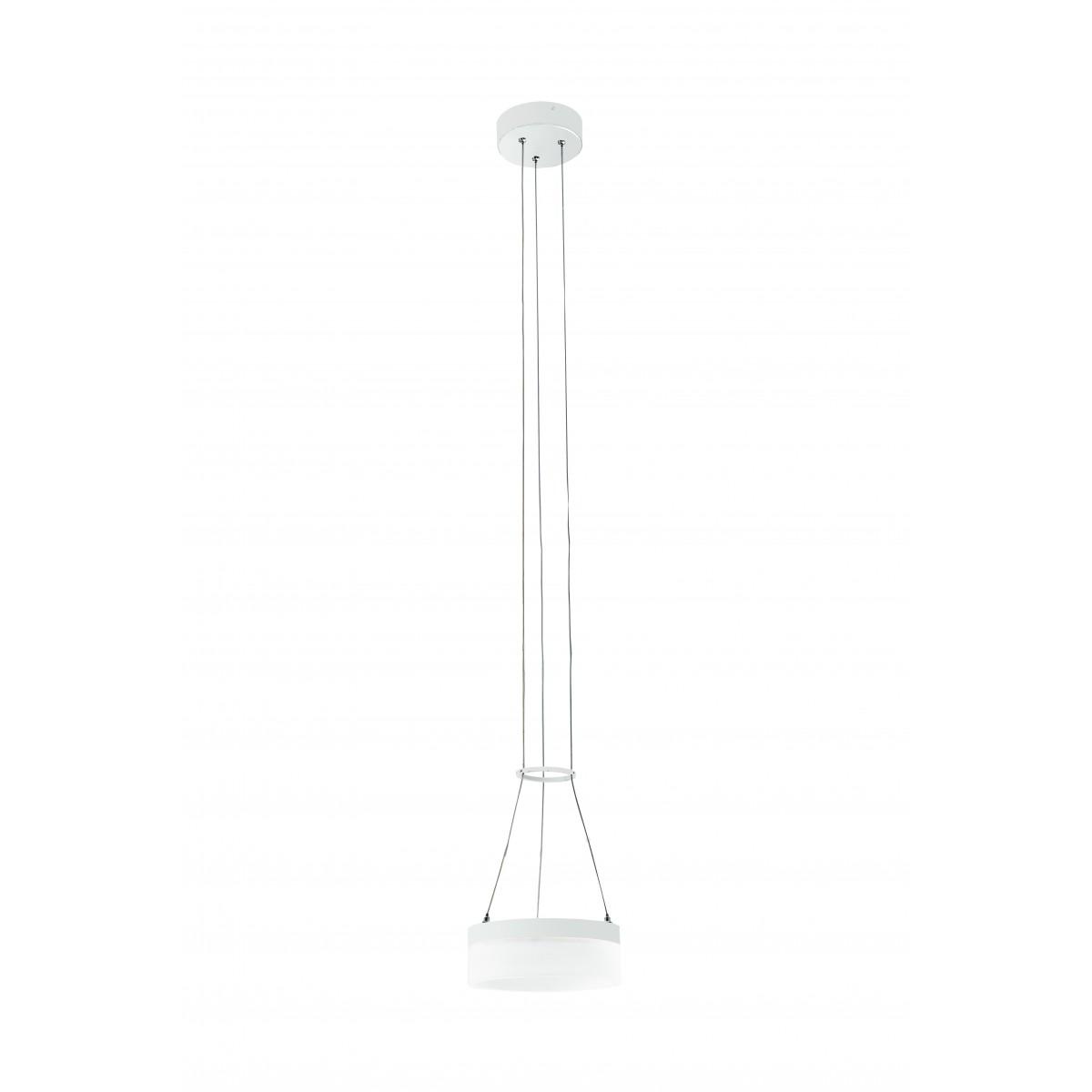 LED-SATURN-S20 - Sospensione Bianca Anello Alluminio Acrilico  Lampadario Moderno Led 12 watt Luce Naturale