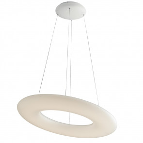 LED-MYLION-S60 - Lustre suspendu Opal Ring Modern White Metal Led 40 Watt Natural Light