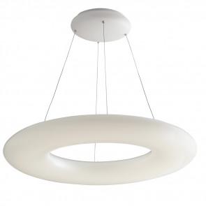 LED-MYLION-S75 - Suspension moderne à anneau opale en lustre blanc mat, lumière naturelle de 80 watts