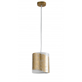 Lampadario Sospeso con Diffusore Cilindrico in Vetro Bianco con Decoro a Fascia Oro
