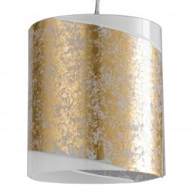 Diffusore Cilindrico in Vetro Bianco con Decoro a Fascia Oro