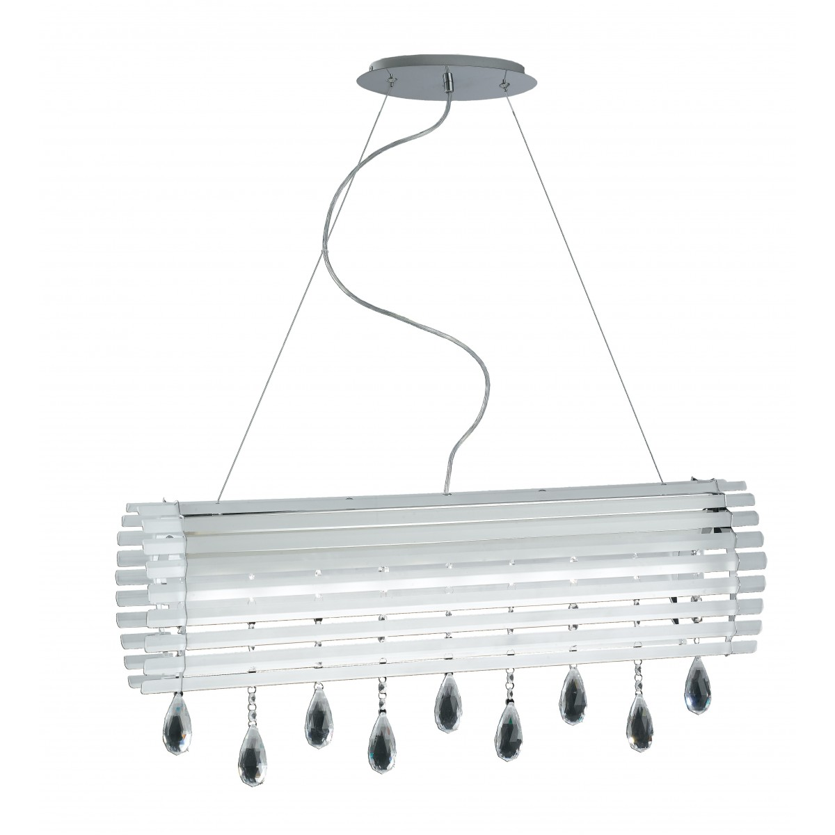 LED-SAMARA-S80 - Lampadario sospeso Vetro finiture Cromo Cristallo a Goccia Moderno 40 watt Luce Naturale