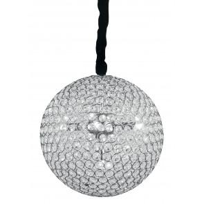 I-PLANET / S35 - Suspension sphérique en métal chromé K9 cristaux ronde lustre moderne G9
