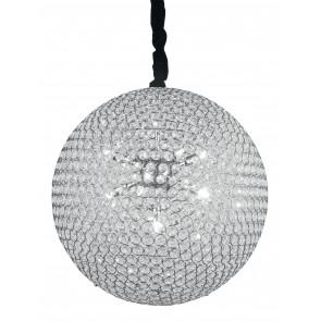 I-PLANET/S50 - Lampadario Sospeso Sferico Cristalli K9 Tondi Metallo Cromo Interno G9