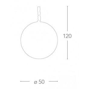 Lampadario Planet Tondo 50 cm in Metallo con Decoro a Cerchi e Cristalli FanEurope