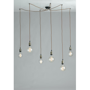 I-GROOVE-S6 - Lustre 6 Suspension Vintage Rustic Aluminium Fabric Cable E27