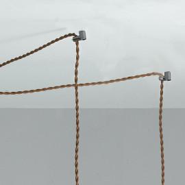 Lustre FanEurope à rainure réglable en hauteur de pendentifs en tissu marron