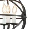 Décoration sphérique de cage en métal avec des bougies de ligne de paillettes