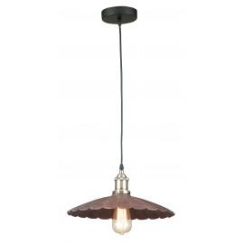I-GREASE-S1 - Sospensione Metallo Invecchiato paralume Smerlettato Lampadario Rustico Vintage E27
