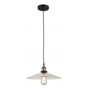 Sospensione Metallo paralume Vetro Decorato Lampadario Interno Rustico Vintage E27