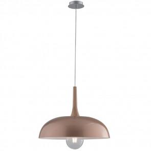 I-LIVINGSTON-S50 - Lampadario Circolare Metallo Oro Rosa Legno Naturale Sospensione Moderna E27