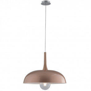 I-LIVINGSTON-S50 - Lustre Circulaire en Métal Or Rose en Bois Naturel Suspension Moderne E27