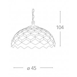 Lustre Liberty avec suspension chaîne et diffuseur en verre décoré de motifs géométriques FanEurope