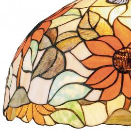 Lustre Dafne avec diffuseur en verre et décoration florale artisanale