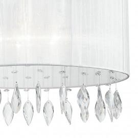 Lustre Patty avec abat-jour en organza blanc circulaire et décoration en cristal