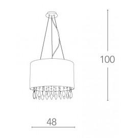 Lampadario Patty Circolare 48 cm in Organza Bianca con Gocce di Cristallo FanEurope