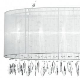 Abat-jour circulaire en organza blanc avec décoration de gouttes en cristal Patty Chandelier