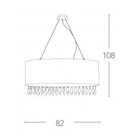 Lampadario Patty Circolare 82 cm in Organza Bianca con Gocce di Cristallo FanEurope