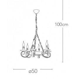 Lampadario Rustico Circolare 6 luci in Metallo Decorato e Legno FanEurope
