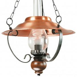 Lustre de salon en métal cuivre avec diffuseur en verre et décoration sphérique en bois