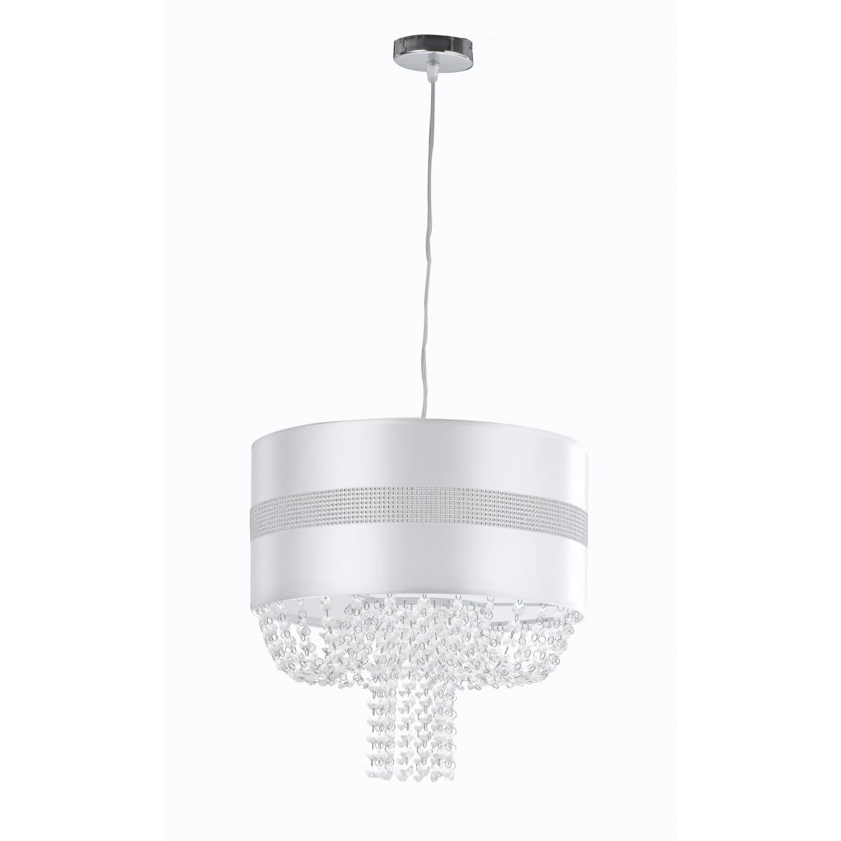 I-CHIGNON / S40 - Lustre à suspension Pendentifs en tissu blanc poli en acrylique classique E27