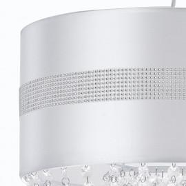 Abat-jour en tissu blanc brillant avec bande décorative et pendentifs en acrylique Lustre Chignon
