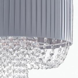 Abat-jour en tissu plissé gris avec décoration de gouttes en lustre Grahm en acrylique