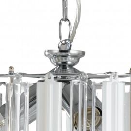 Sospensione a Catena in Metallo con Diffusore a Fasce in Acrilico Trasparente e Opaco Linea Franklyn