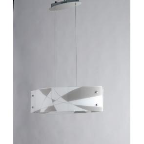 I-MAXIMA / S65 - Lustre suspendu en verre gravé blanc gris tourterelle moderne à lumière naturelle de 40 watts