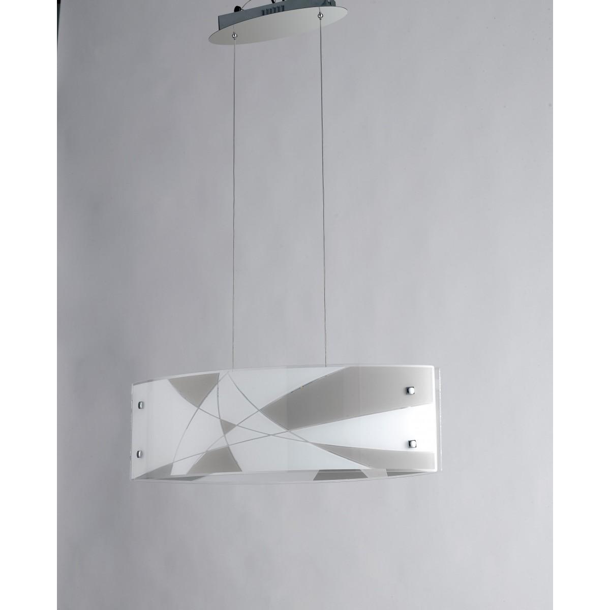 I-MAXIMA/S65 - Lampadario a Sospensione Vetro Inciso Bianco Tortora Moderno Led 40 watt Luce Naturale