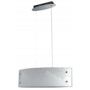 I-EXAGON / S65 - Suspension en verre blanc design fleurs moderne lustre intérieur Led 40 watts lumière naturelle
