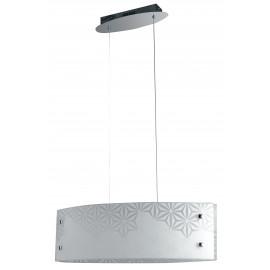 I-EXAGON/S65 - Sospensione Vetro Bianco Disegno Fiori Lampadario Moderno Interno Led 40 watt Luce Naturale