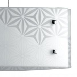 Diffuseur en verre blanc avec décoration florale grise Exagon Line