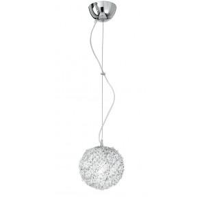 Sospensione Sferica Fili Alluminio Cristalli Intrecciati Lampadario Moderno E27
