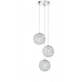 I-ASTRA/S3 - Lampadario a 3 Sospensione Sferiche Intreccio Fili Alluminio Cistalli Moderno E27